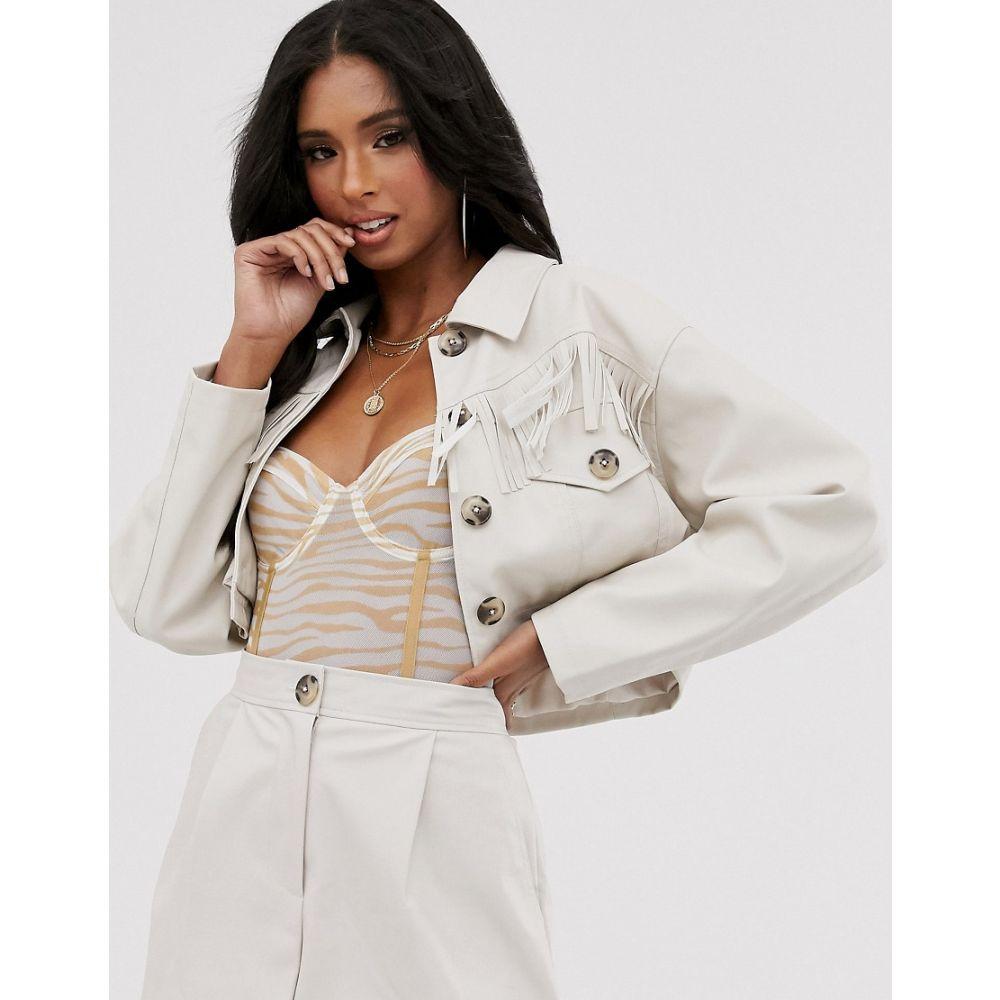 エイソス ASOS DESIGN レディース スーツ・ジャケット アウター【western fringe cropped suit blazer】Cream