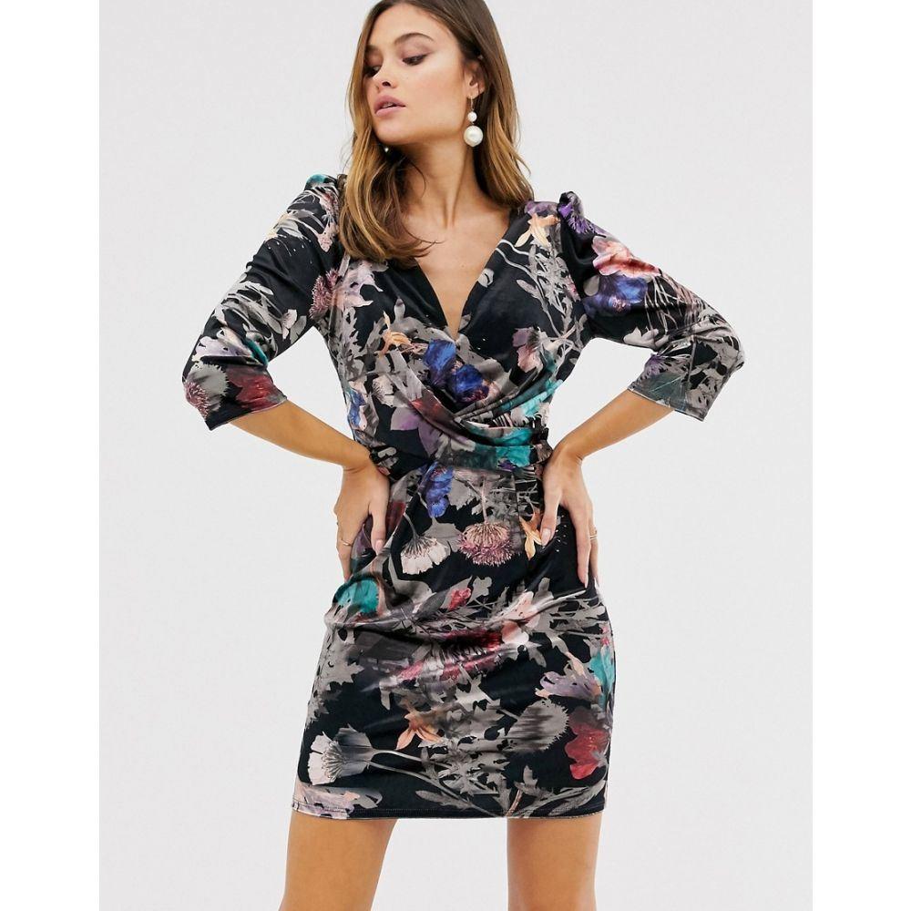 リトル ミストレス Little Mistress レディース ボディコンドレス Vネック ワンピース・ドレス【floral v neck long sleeve bodycon dress】Multi