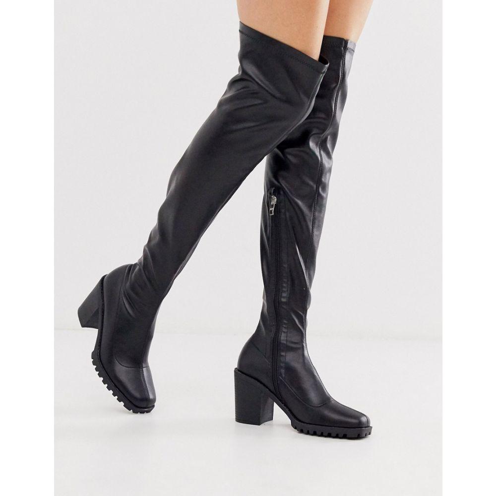 レイド Raid レディース ブーツ ニーハイブーツ チャンキーヒール シューズ・靴【rebekah black chunky over the knee sock boots】Black pu