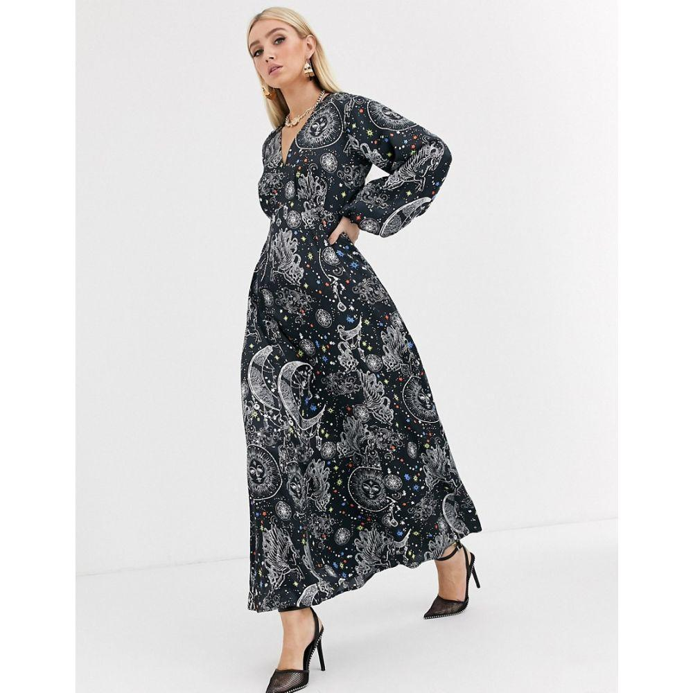エイソス ASOS DESIGN レディース ワンピース マキシ丈 ワンピース・ドレス【maxi dress with puff sleeves in satin astrological print】Astrological print