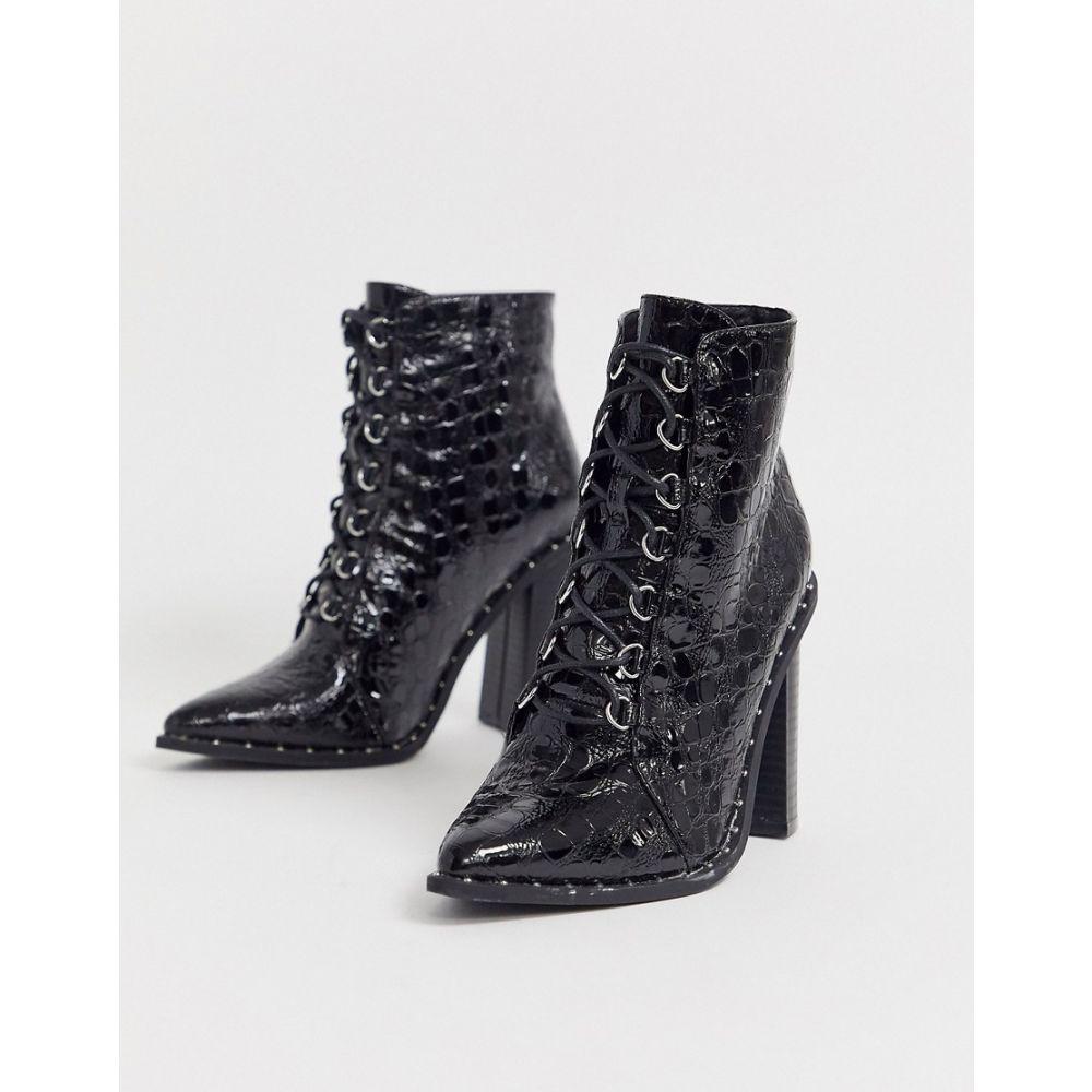 ミスガイデッド Missguided レディース ブーツ ショートブーツ シューズ・靴【heeled hiker ankle boot in black croc】Black