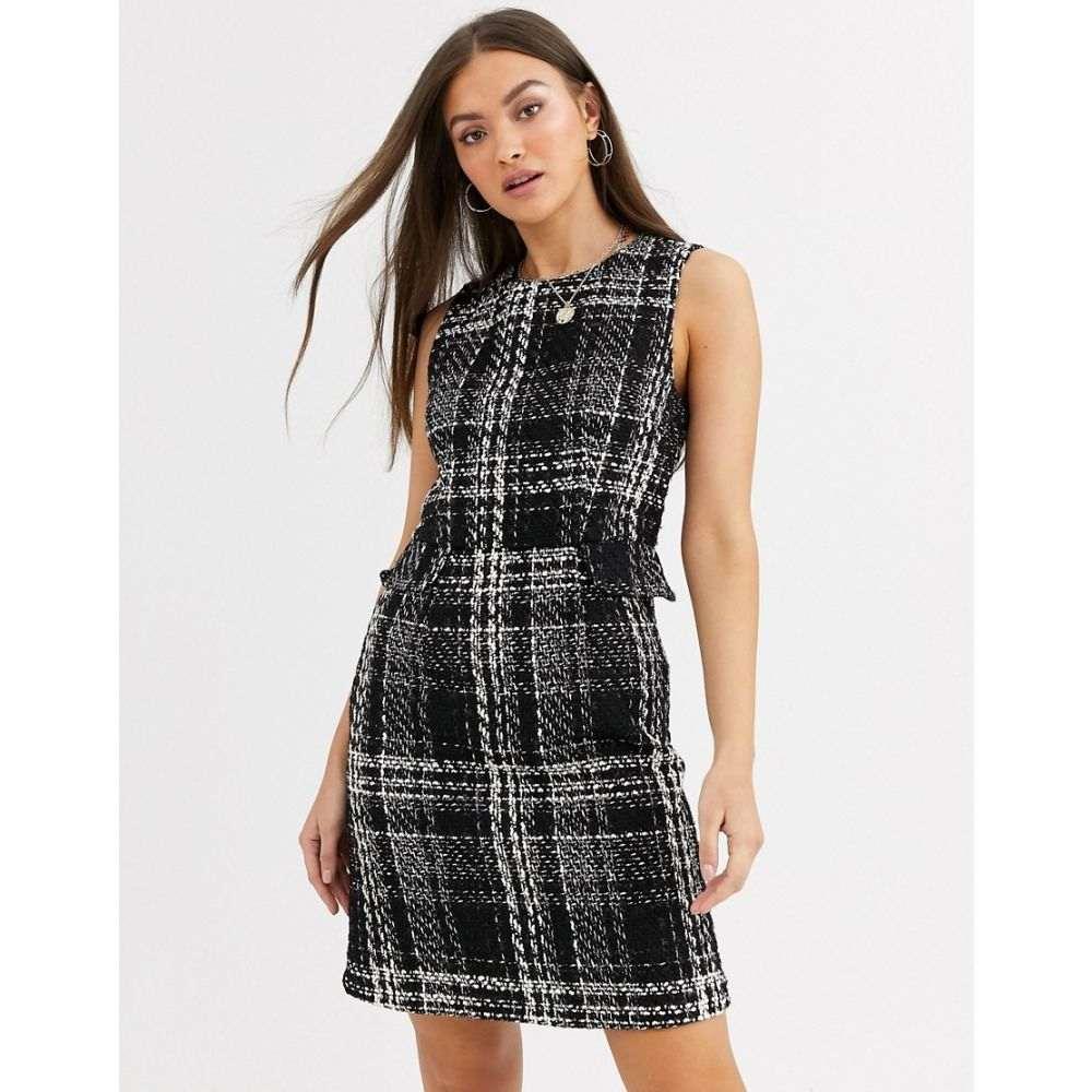 ウェアハウス Warehouse レディース ワンピース ワンピース・ドレス【mini dress in tweed check】Black mix