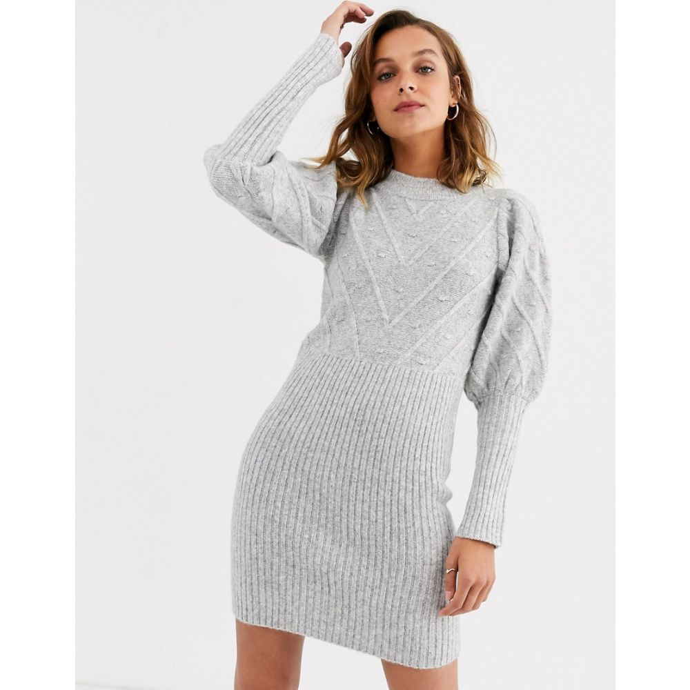 リバーアイランド River Island レディース ワンピース ワンピース・ドレス【knitted dress with puff sleeves and stitch detail in grey】Light grey