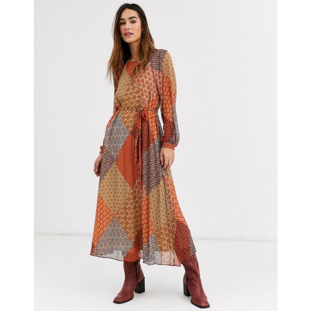 ウェアハウス Warehouse レディース ワンピース ワンピース・ドレス【midaxi dress in scarf print】Orange print