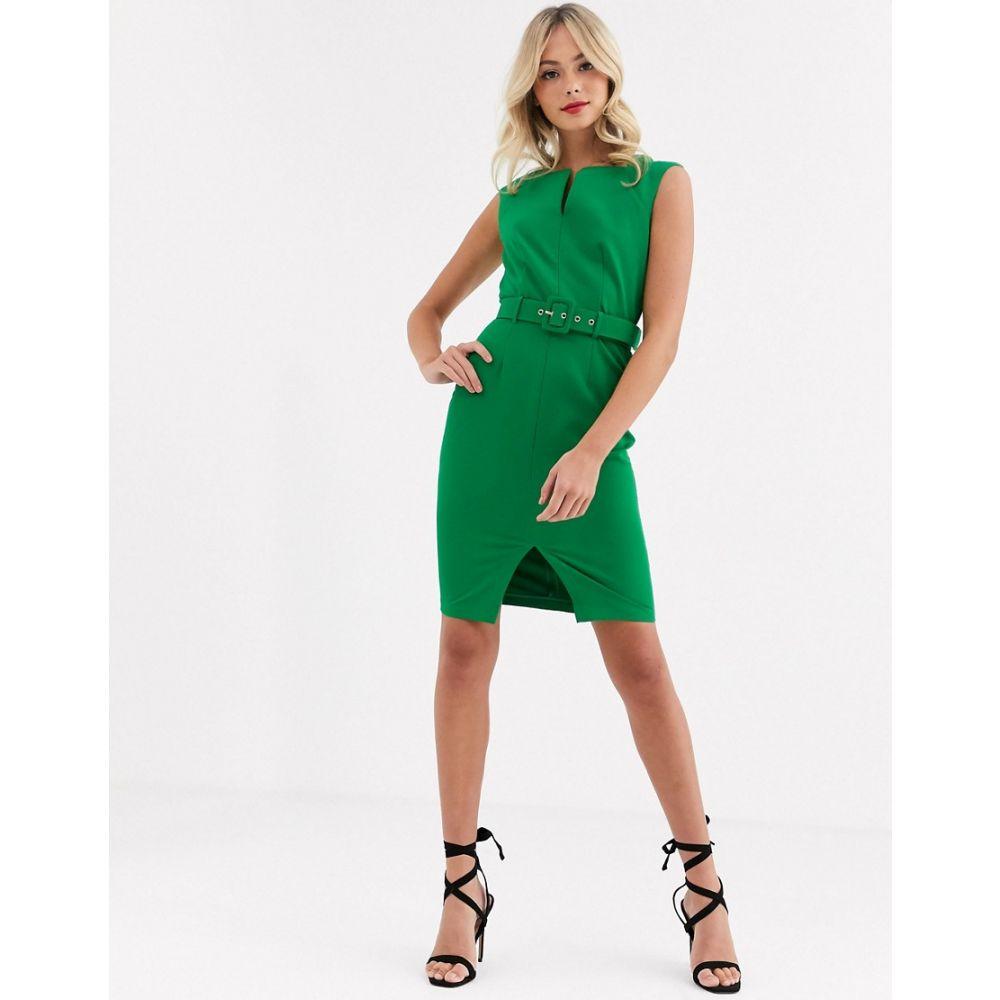 ペーパー ドールズ Paper Dolls レディース ワンピース ミドル丈 ワンピース・ドレス【belted midi dress in green】Bright green