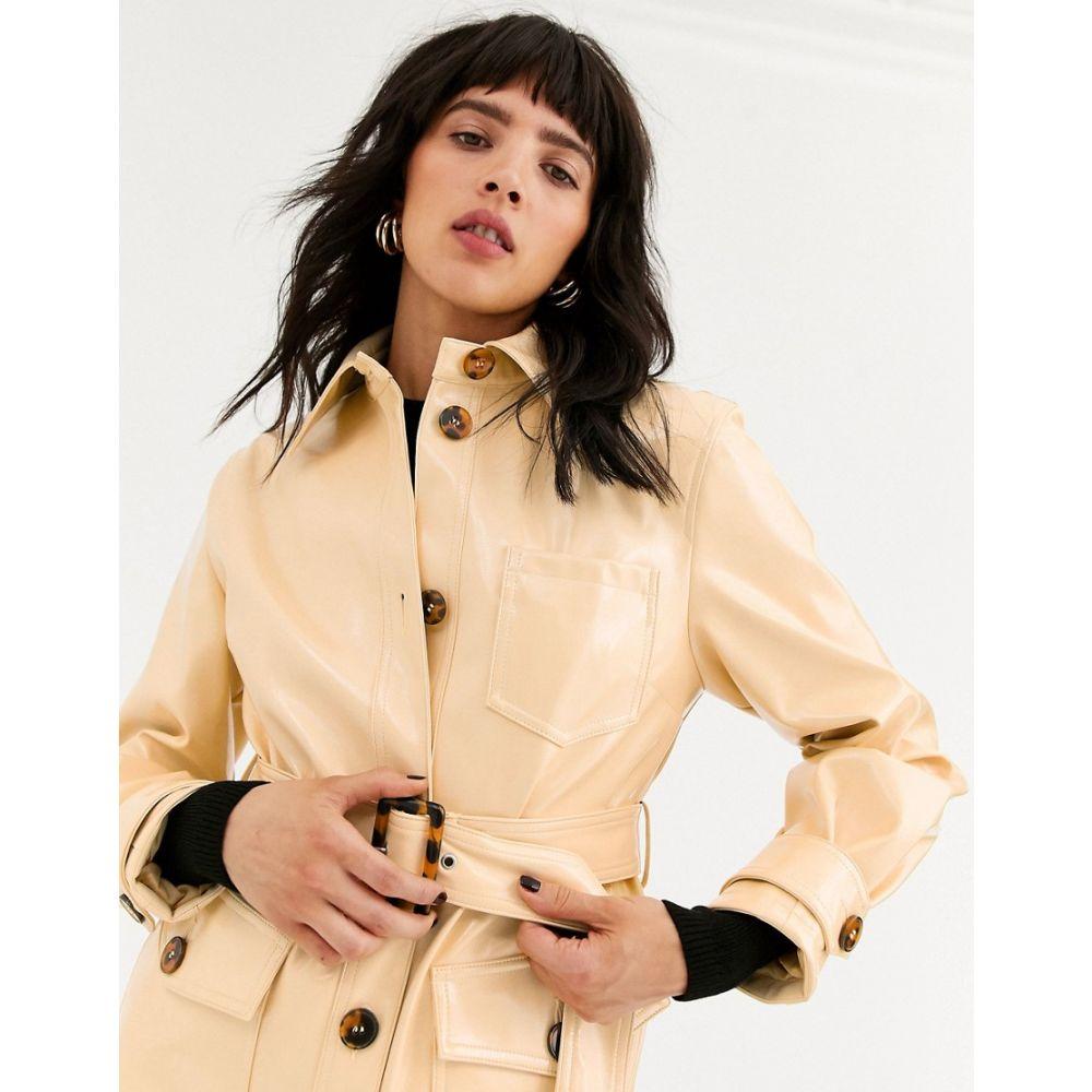 トップショップ Topshop レディース ジャケット アウター【vinyl crop jacket with belt in butter】Cream