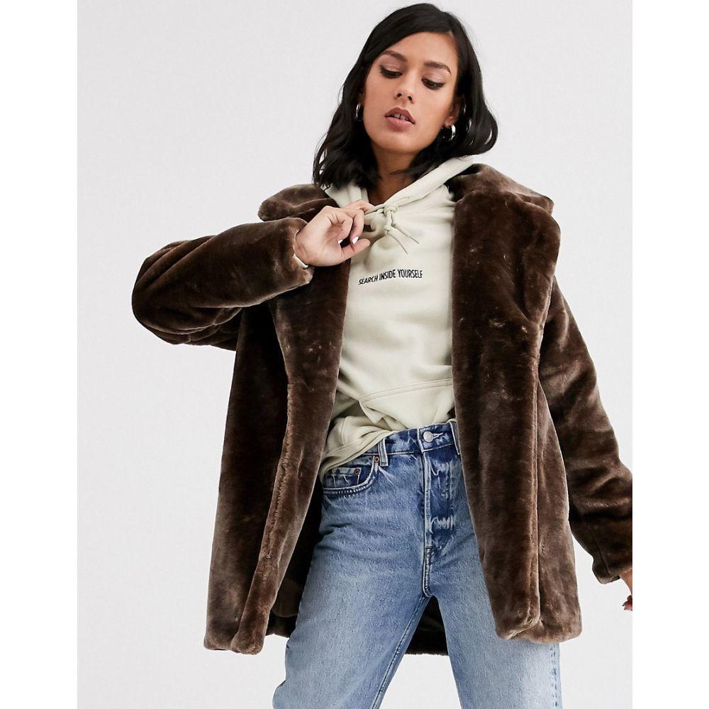 モンキー Monki レディース ジャケット アウター【short faux fur jacket in brown】Brown