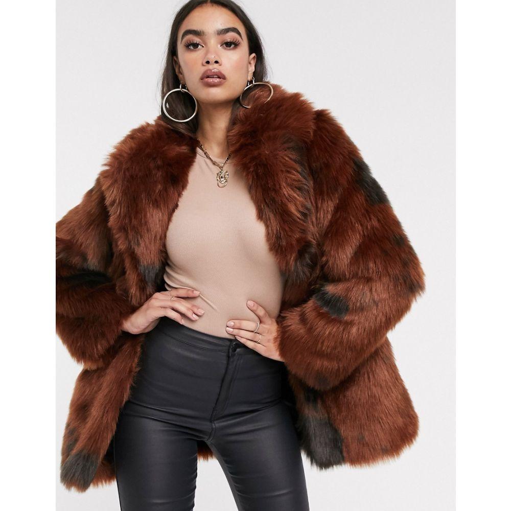エイソス ASOS DESIGN レディース コート ファーコート アウター【cow print faux fur coat】Multi
