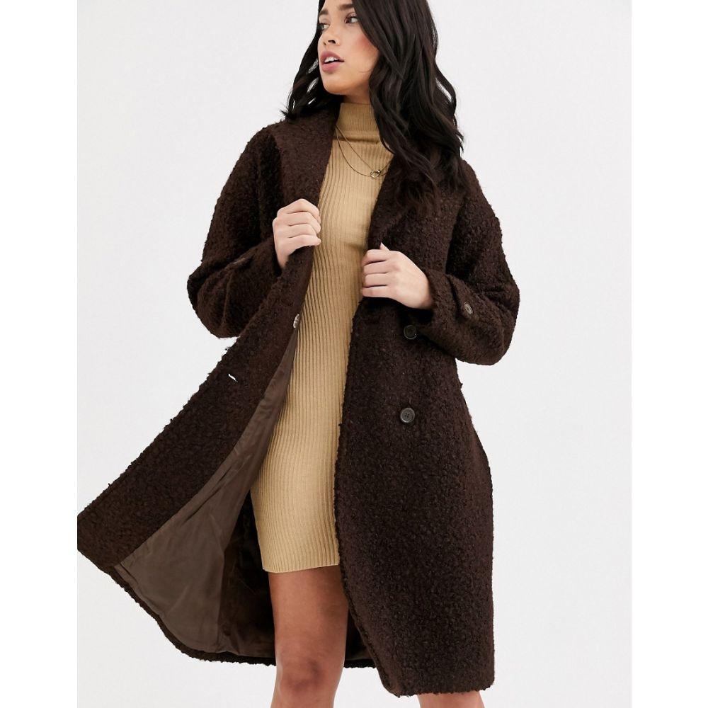 ファッションユニオン Fashion Union レディース コート アウター【textured double breasted wool coat】Chocolate