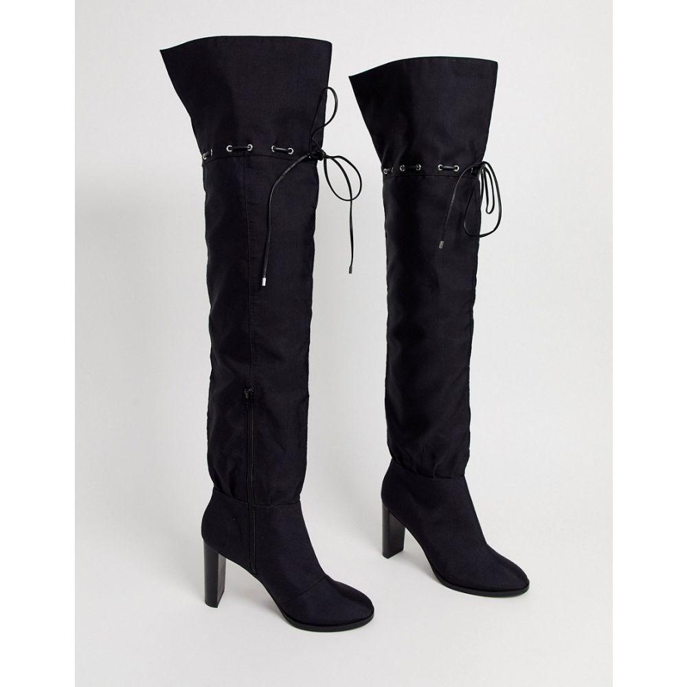 エイソス ASOS DESIGN レディース ブーツ ロングブーツ ニーハイブーツ シューズ・靴【kyla slouch over the knee boot in black】Black canvas