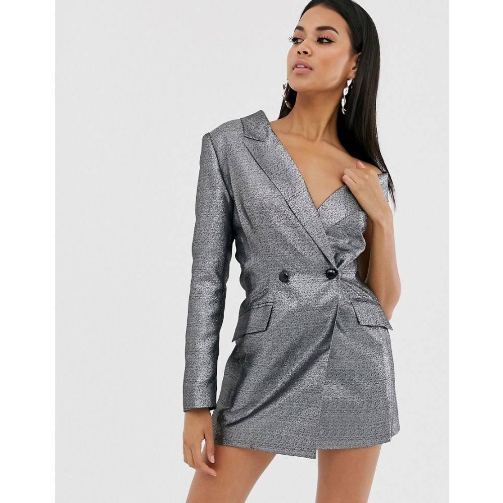 エイソス ASOS DESIGN レディース スーツ・ジャケット アウター【metallic one shoulder long line blazer】Silver