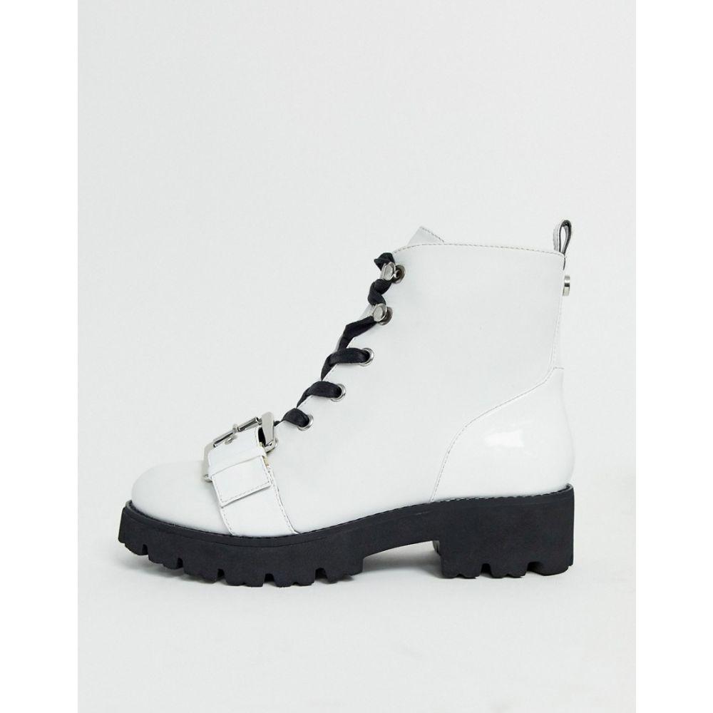 スティーブ マデン Steve Madden レディース ブーツ レースアップブーツ シューズ・靴【lace up military boot in white】White