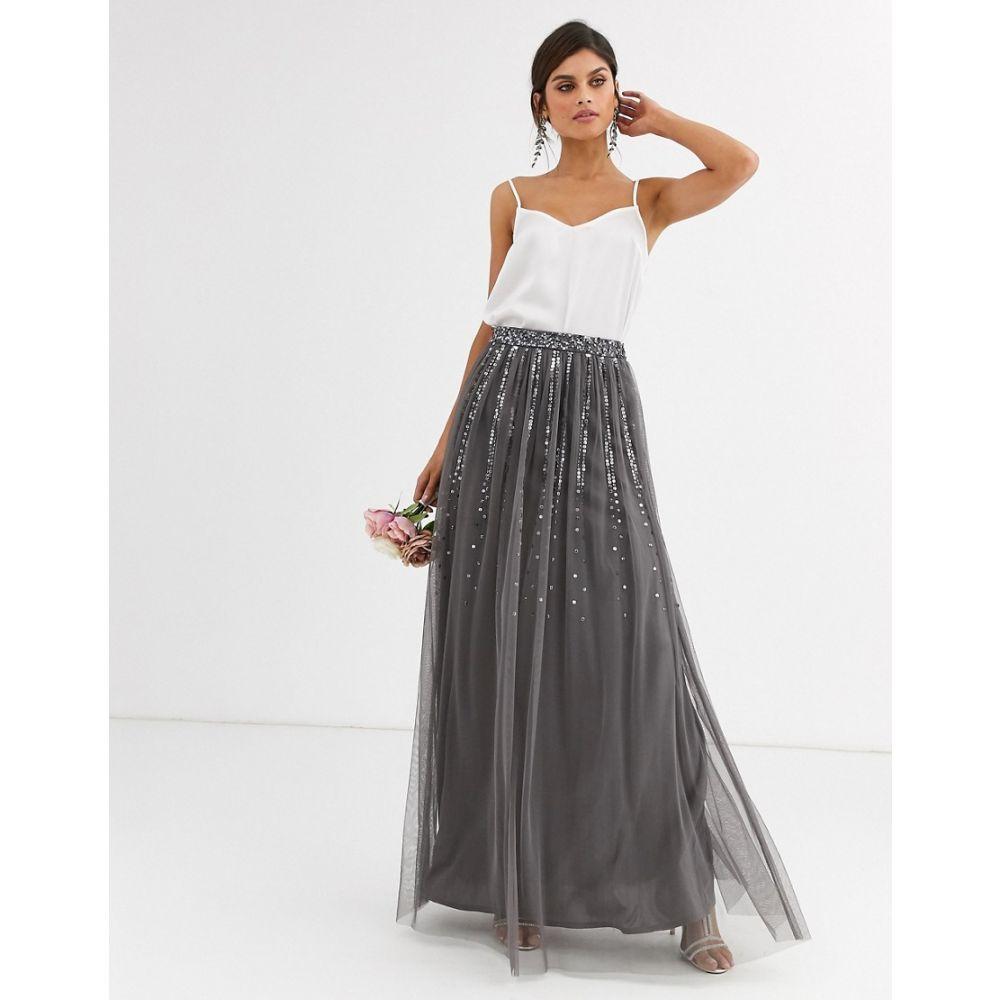 マヤ Maya レディース スカート 【bridesmaid delicate sequin tulle skirt in dark grey】Dark grey