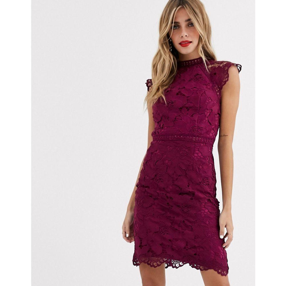 チチロンドン Chi Chi London レディース ワンピース ワンピース・ドレス【lace pencil dress in mulberry】Berry