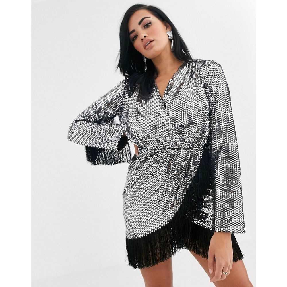 オピュレンス イングランド Opulence England レディース ワンピース ミニ丈 ワンピース・ドレス【premium party long sleeve sequin fringe mini dress】Black