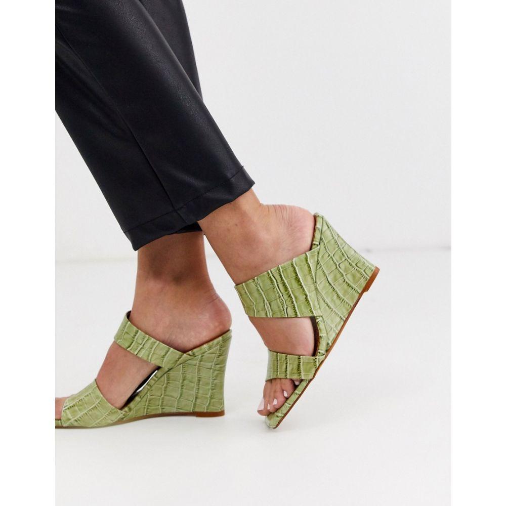 トップショップ Topshop レディース ヒール ウェッジソール シューズ・靴【leather square toed wedge heels in green】Sage