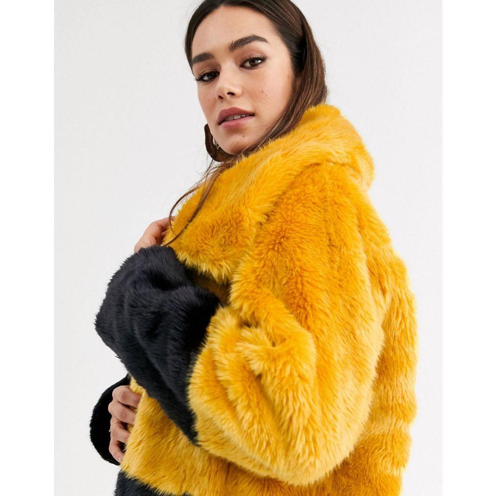 フレンチコネクション French Connection レディース コート アウター【sebille faux fur colourblock coat】Util blue/calluna y