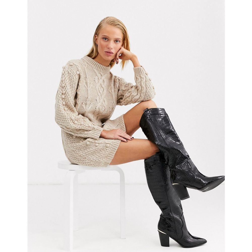 エイソス ASOS WHITE レディース ワンピース ワンピース・ドレス【bobble cable knitted dress】Beige