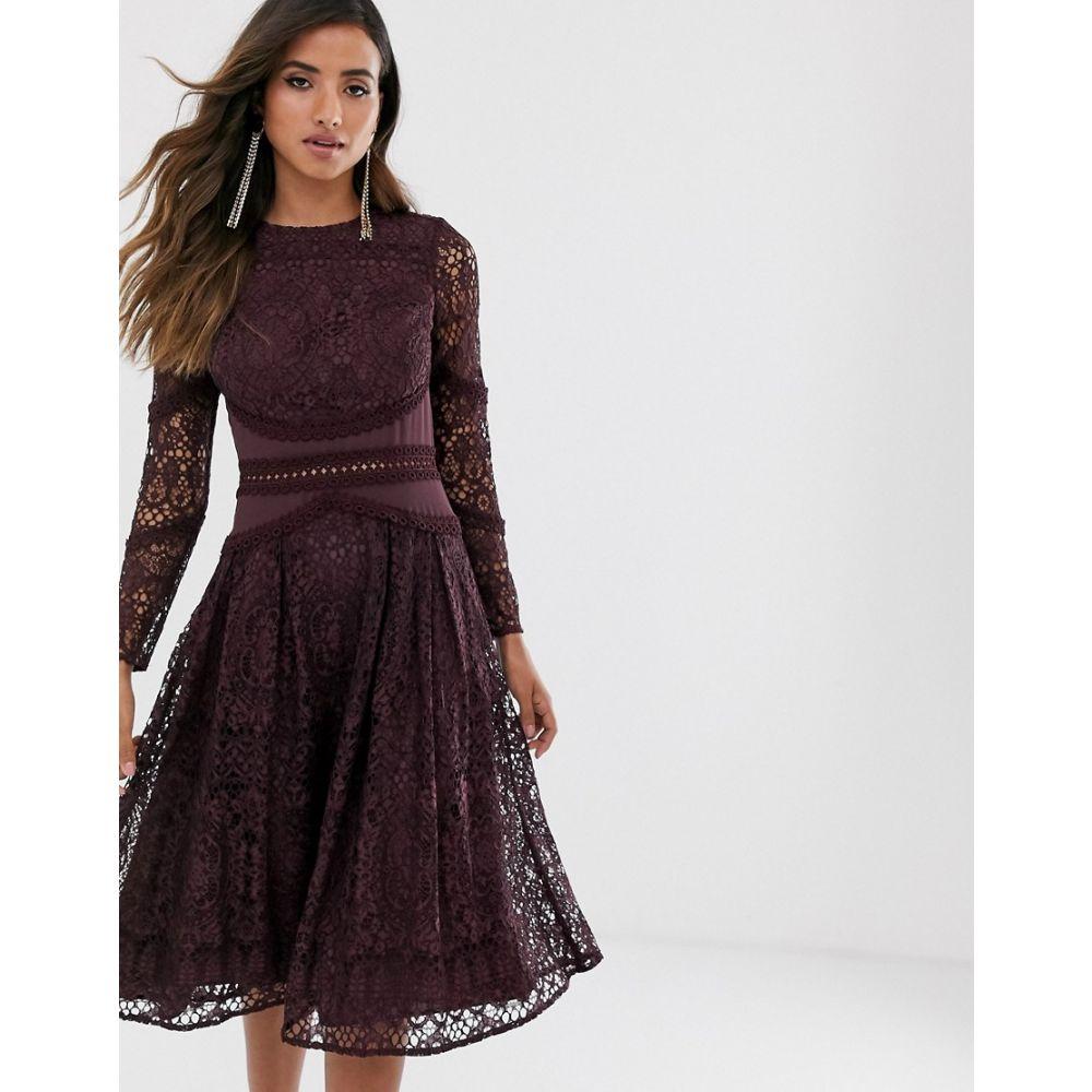 エイソス ASOS DESIGN レディース ワンピース ワンピース・ドレス【long sleeve prom dress in lace with circle trim details】Deep purple