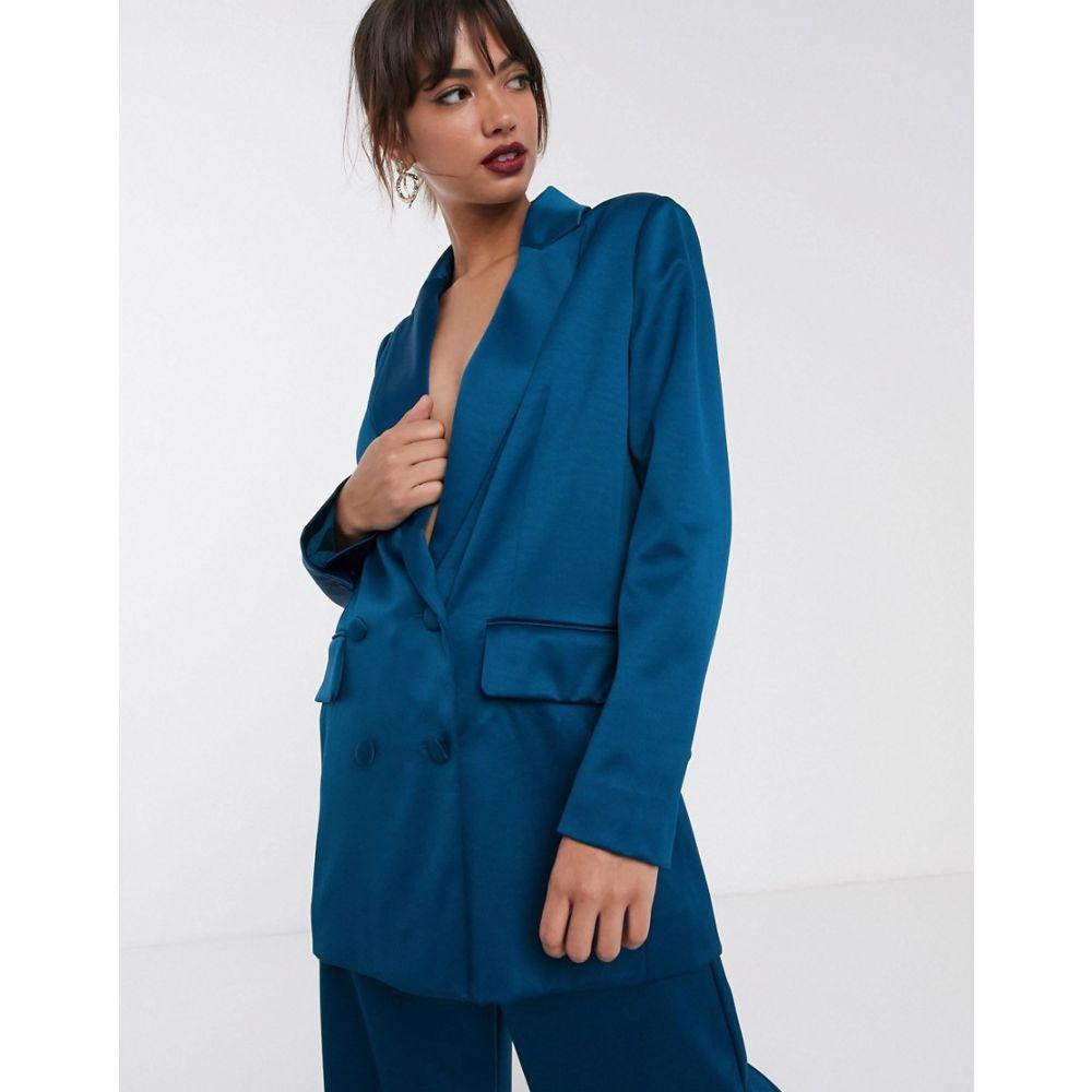 エイソス ASOS EDITION レディース スーツ・ジャケット アウター【double breasted blazer in satin】Blue