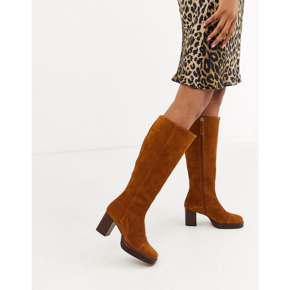 エイソス ASOS DESIGN レディース ブーツ シューズ・靴【camille premium suede platform knee high boots in rust】Rust suede