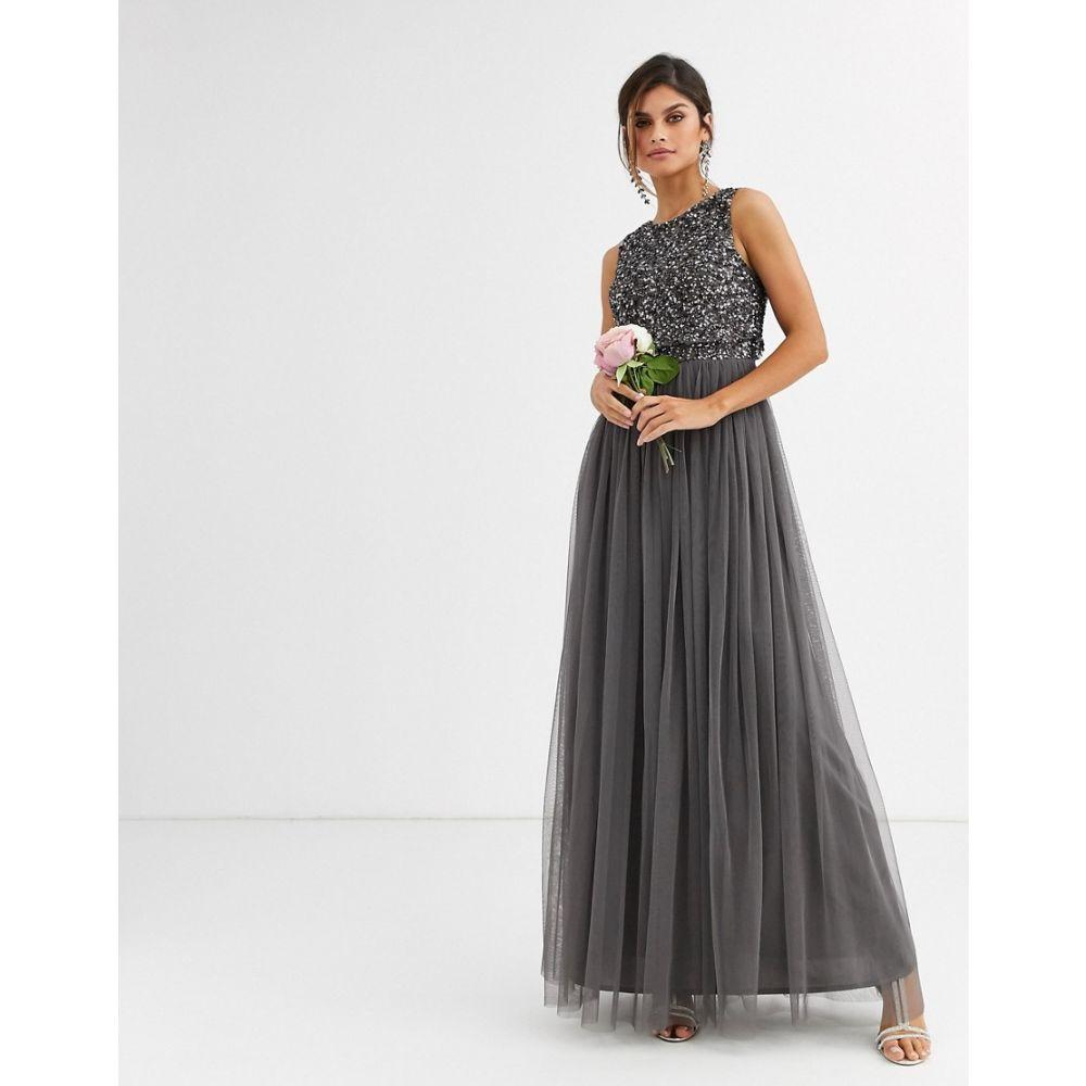 マヤ Maya レディース ワンピース マキシ丈 ワンピース・ドレス【bridesmaid delicate sequin 2 in 1 maxi dress in dark grey】Dark grey