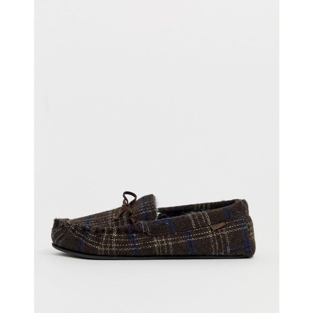 トーツ Totes メンズ スリッパ モカシン シューズ・靴【check moccasin slipper in brown】Brown
