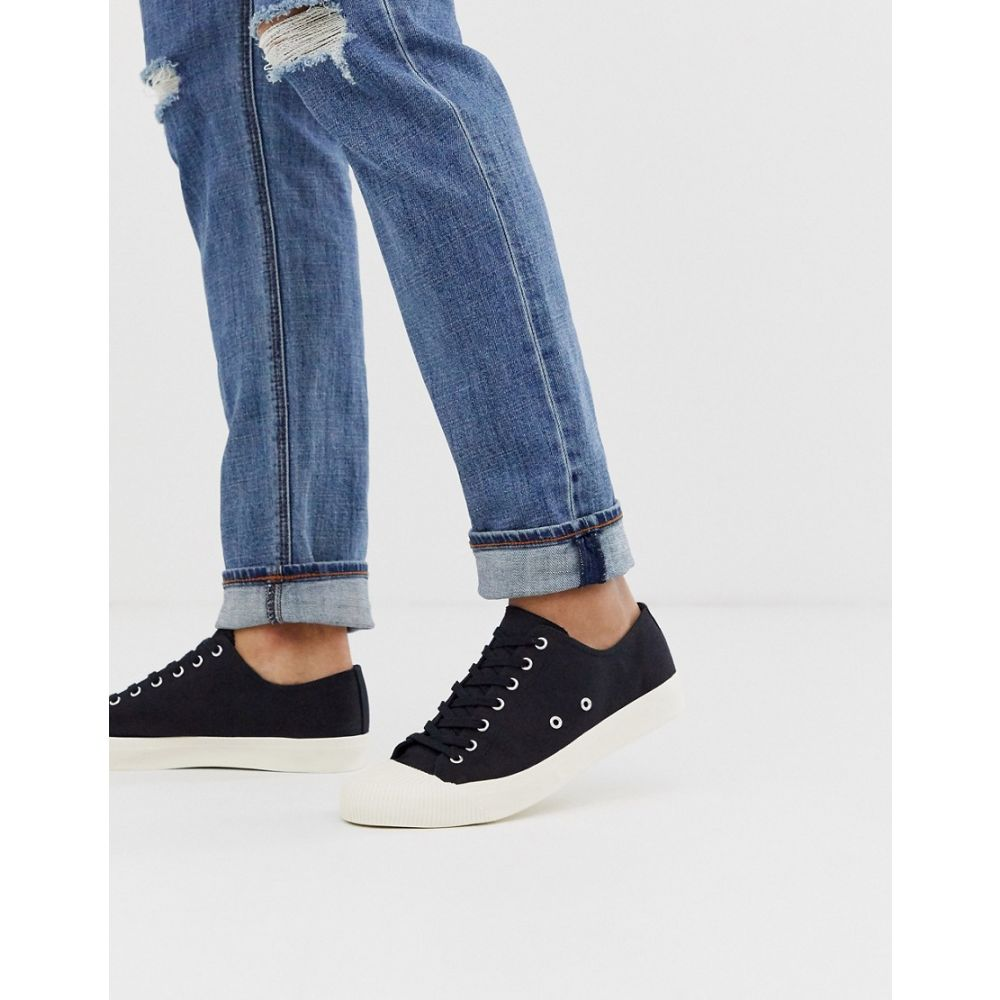 エイソス ASOS DESIGN メンズ スニーカー レースアップ シューズ・靴【lace up plimsolls in black canvas with wrapped sole】Black
