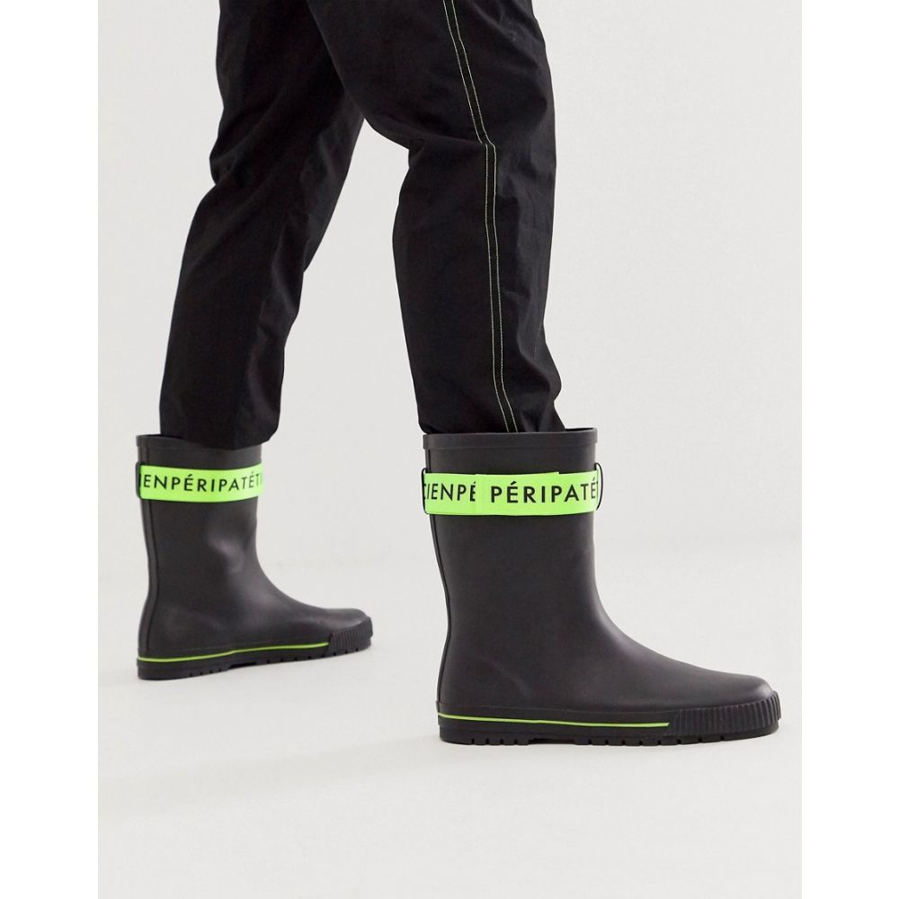 エイソス ASOS DESIGN メンズ ブーツ シューズ・靴【wellies in black with green tape detail】Black