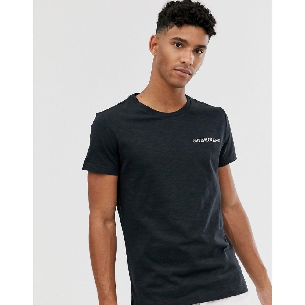 カルバンクライン Calvin Klein Jeans メンズ Tシャツ トップス【slim fit t-shirt in black with small institutional logo】Ck black