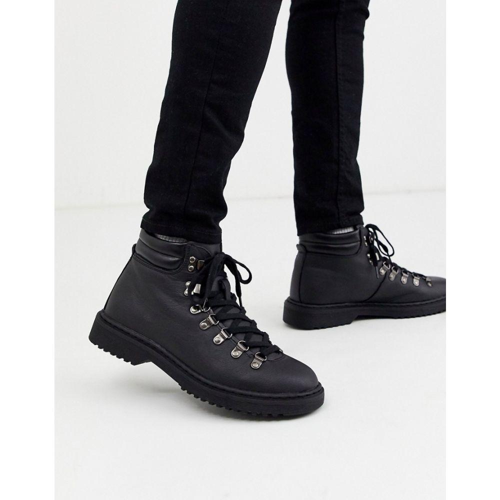ニュールック New Look メンズ ブーツ シューズ・靴【faux leather hiker boot in black】Black