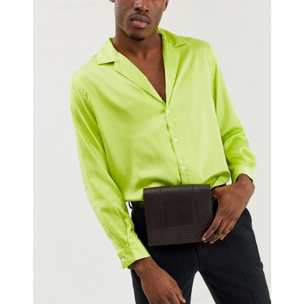 エイソス ASOS EDITION メンズ ボディバッグ・ウエストポーチ バッグ【leather belt bum bag in chocolate brown croc】Brown