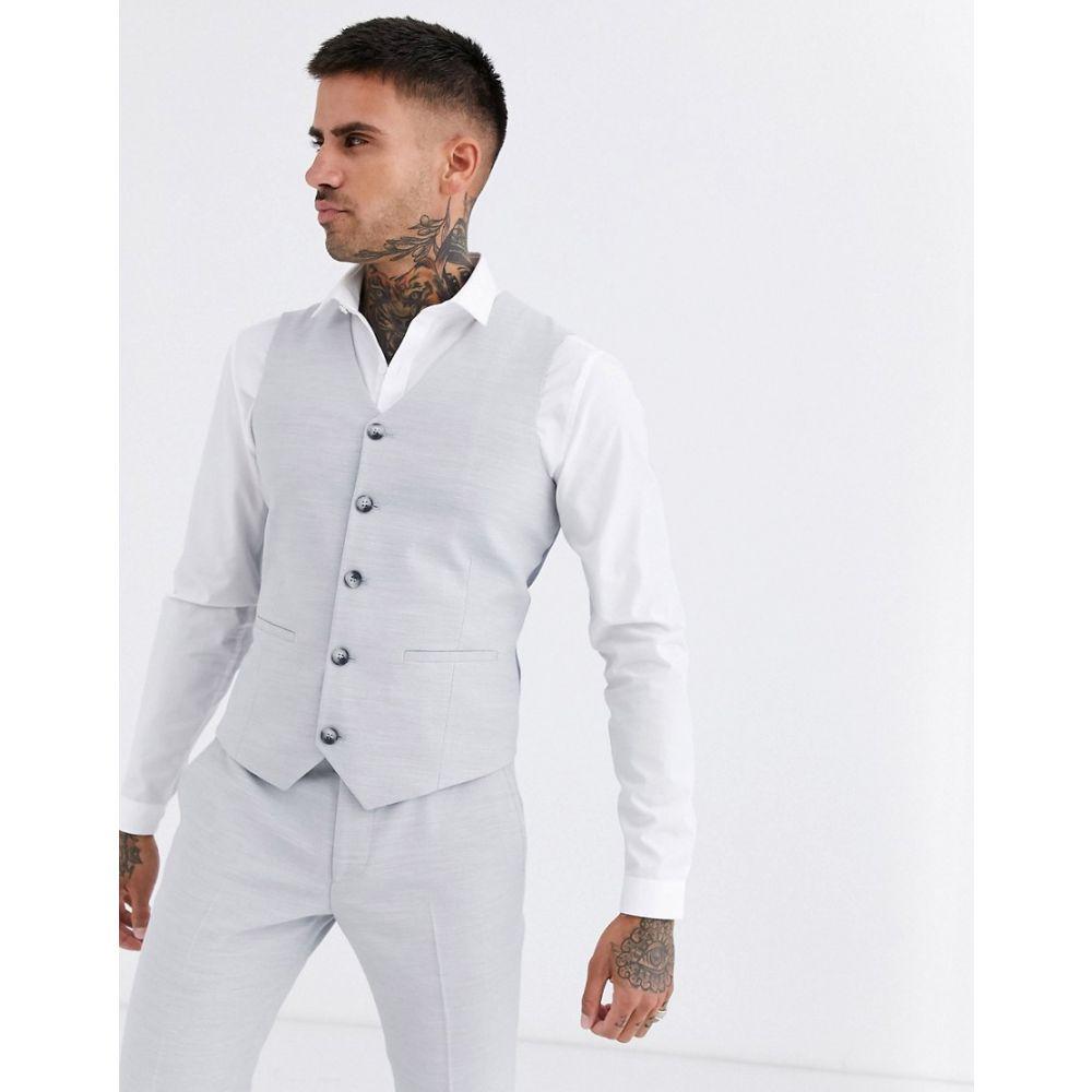 エイソス ASOS DESIGN メンズ ベスト・ジレ トップス【wedding super skinny suit waistcoat in ice grey micro texture】Ice grey
