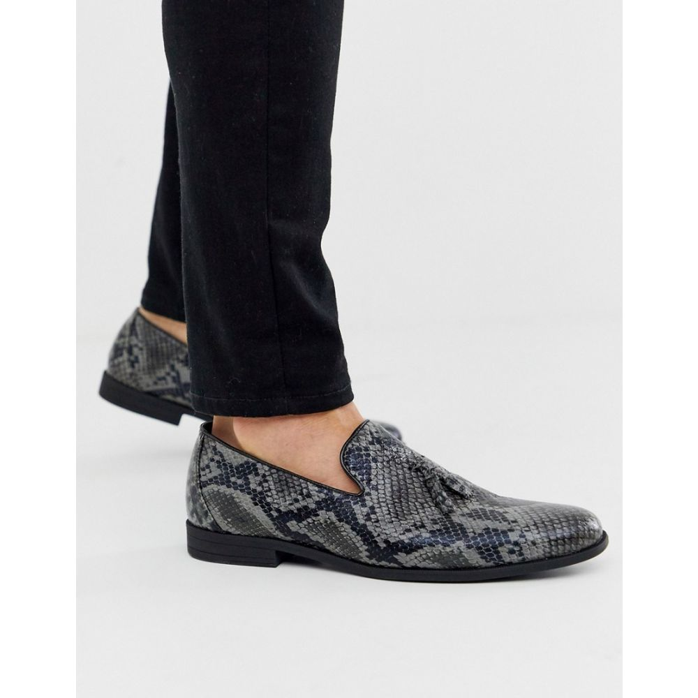 ブーフー boohooMAN メンズ ローファー シューズ・靴【pu snake loafer with tassel in grey】Grey