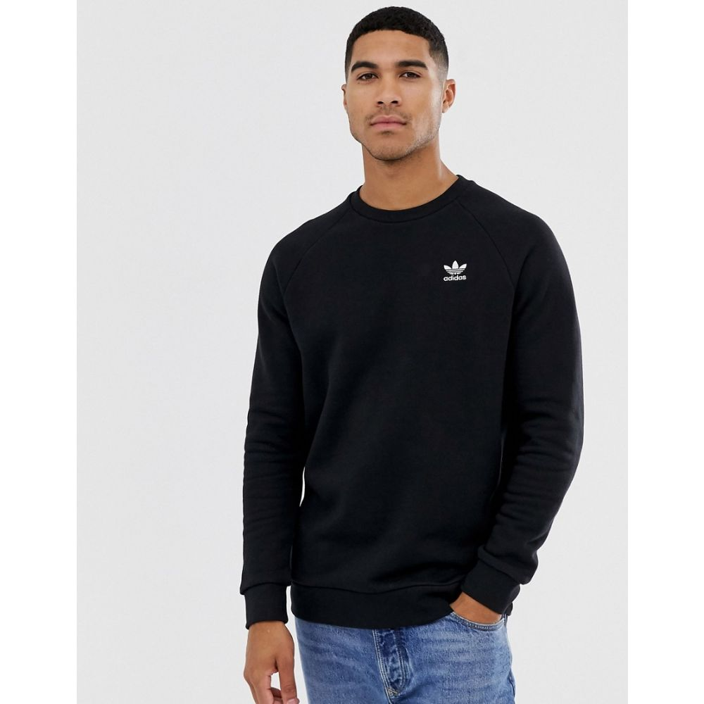 アディダス adidas Originals メンズ スウェット・トレーナー トップス【essentials sweatshirt with small logo in black】Black