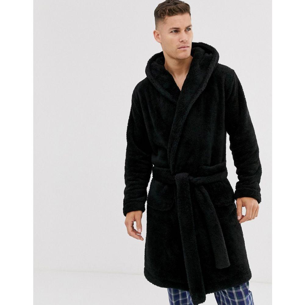 エイソス ASOS DESIGN メンズ ガウン・バスローブ インナー・下着【lounge fleece dressing gown in black】Black