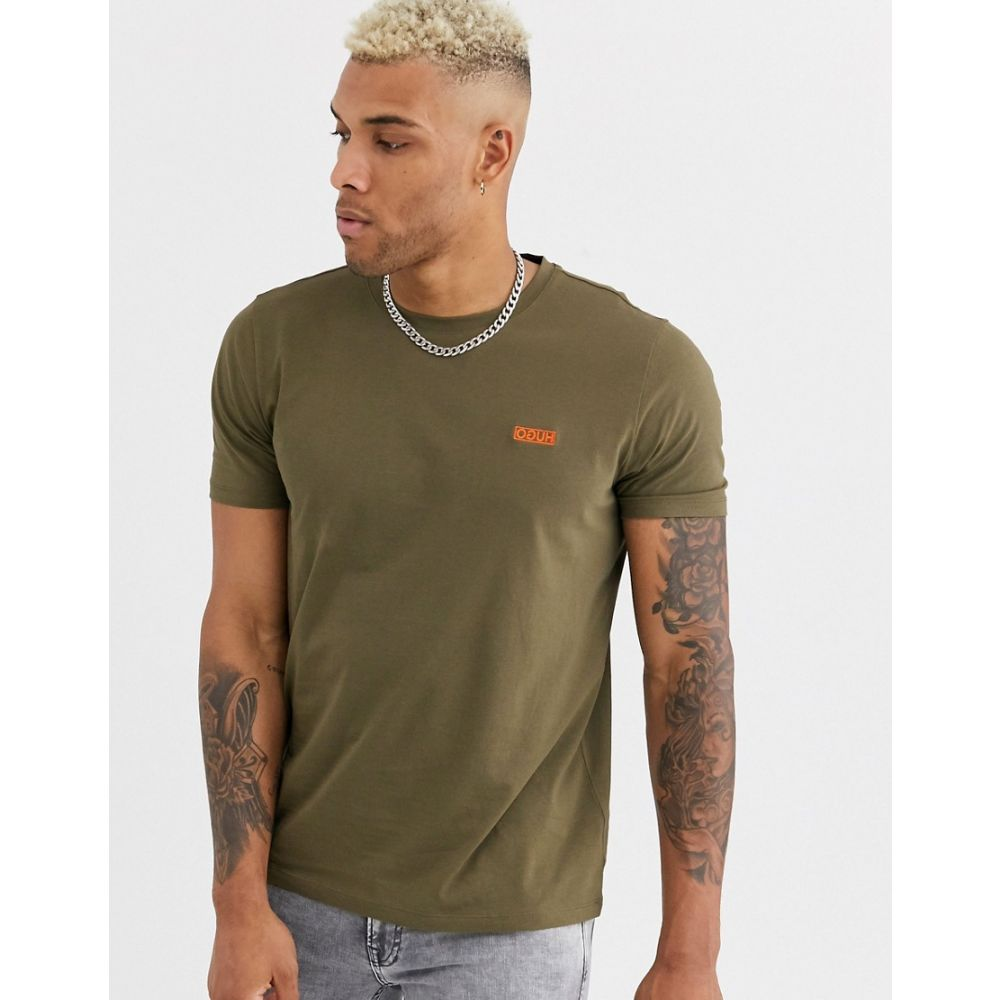 ヒューゴ ボス HUGO メンズ Tシャツ トップス【dero contrast embroidered logo t-shirt in khaki】Khaki