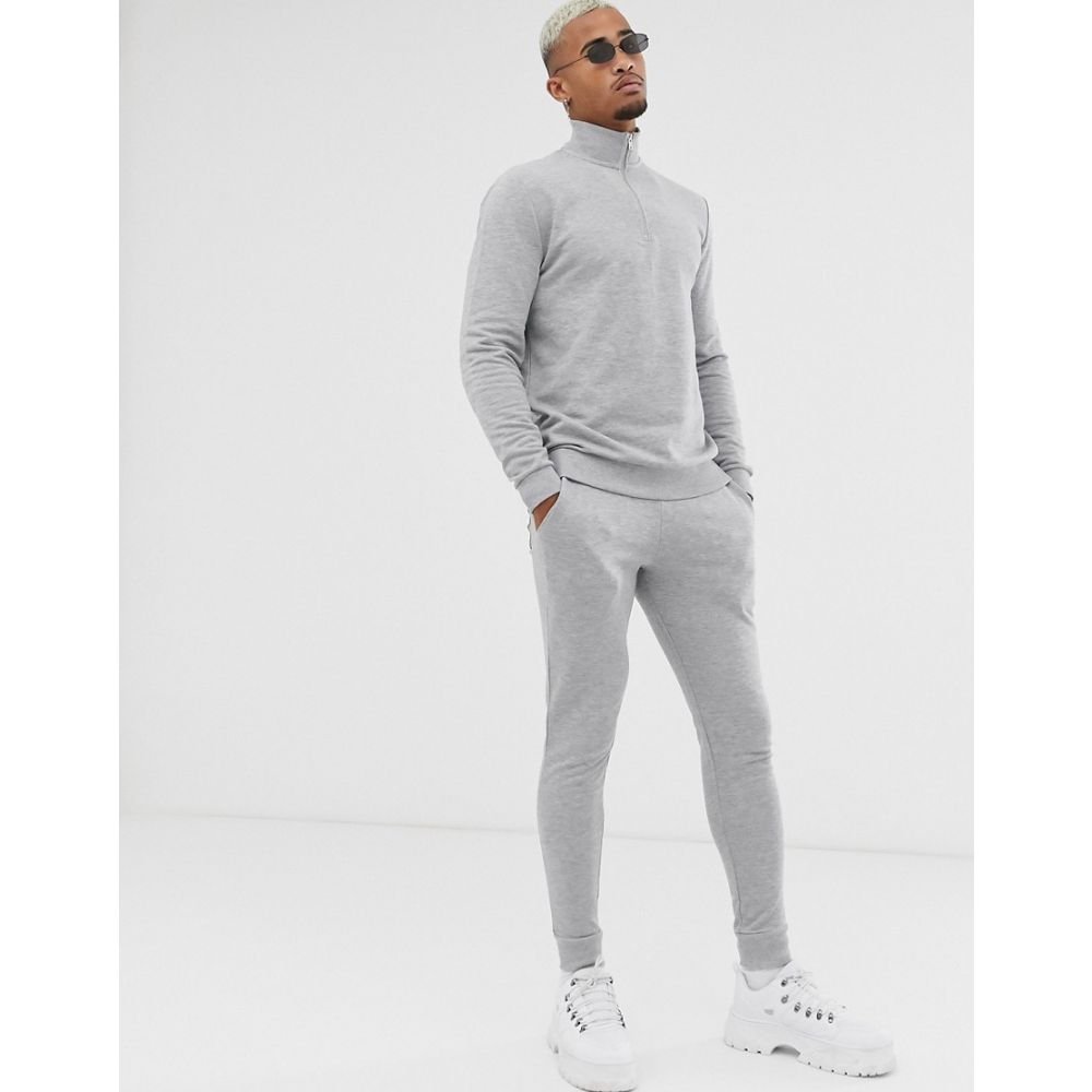 エイソス ASOS DESIGN メンズ スウェット・トレーナー トップス【tracksuit with half zip sweatshirt in grey marl】Grey marl