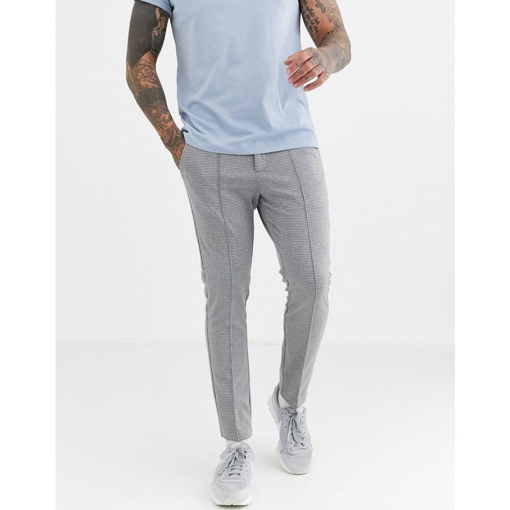 リバーアイランド River Island メンズ ジョガーパンツ ボトムス・パンツ【smart joggers in grey check】Grey