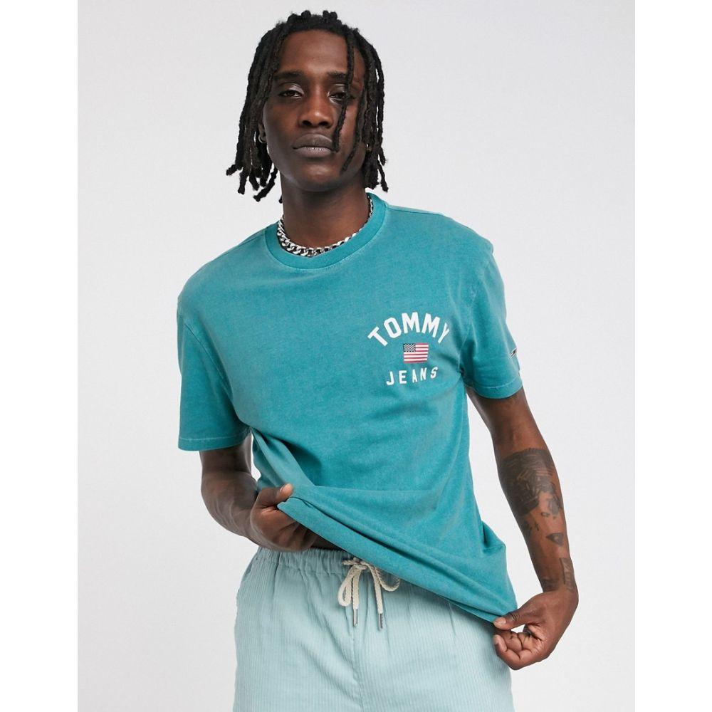 トミー ジーンズ Tommy Jeans メンズ Tシャツ トップス【americana t-shirt in green with flag logo】Atlantic dee