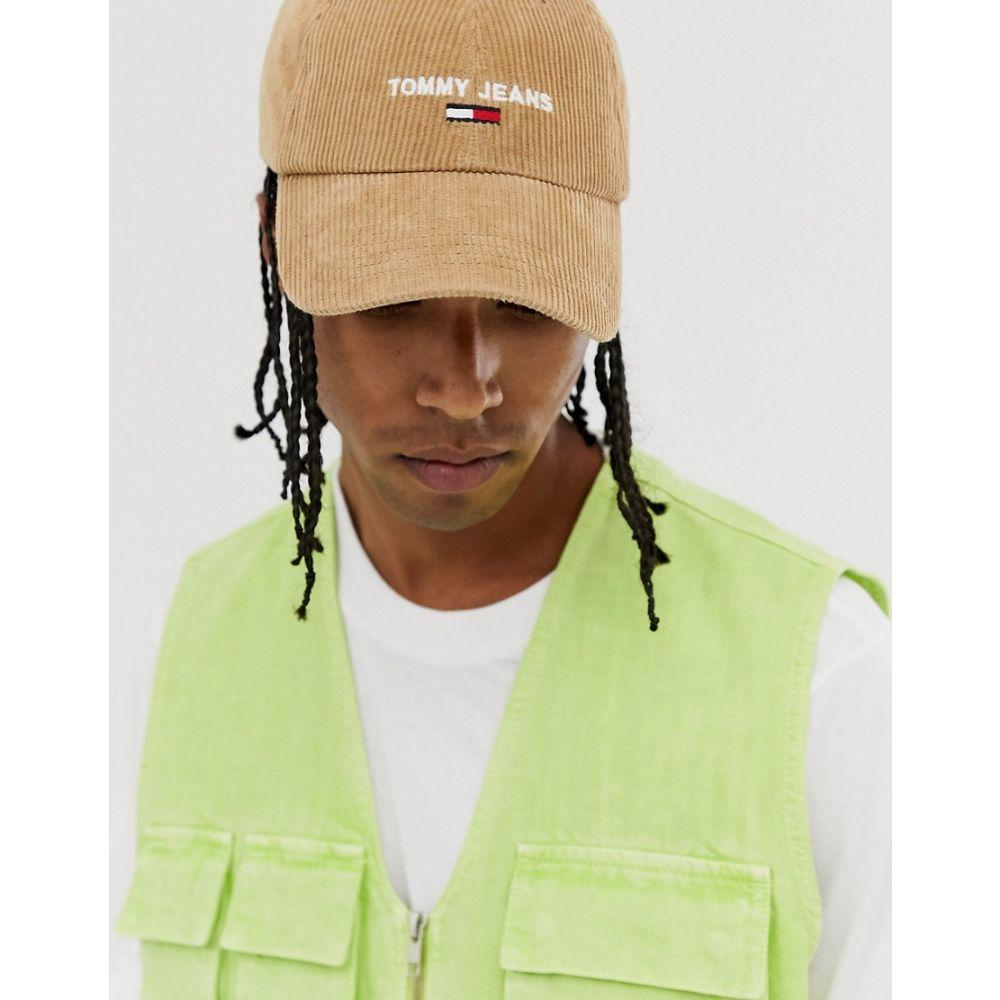 トミー ジーンズ メンズ 帽子 キャップ Beige 【サイズ交換無料】 トミー ジーンズ Tommy Jeans メンズ キャップ 帽子【cord cap in beige cord with logo】Beige
