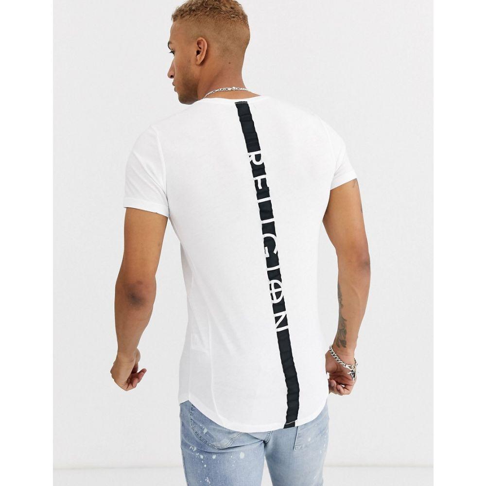 レリジョン Religion メンズ Tシャツ トップス【curved hem t-shirt with back taping in white】White