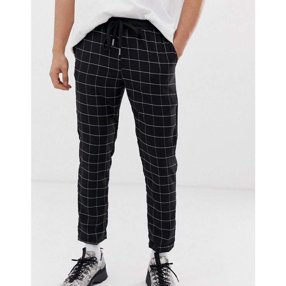 シックススジューン Sixth June メンズ スキニー・スリム ボトムス・パンツ【skinny trousers in black check】Black