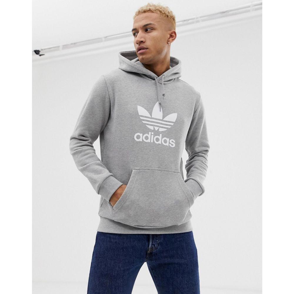 『4年保証』 アディダス メンズ トップス パーカー Grey サイズ交換無料 trefoil grey お気にいる adidas hoodie in Originals