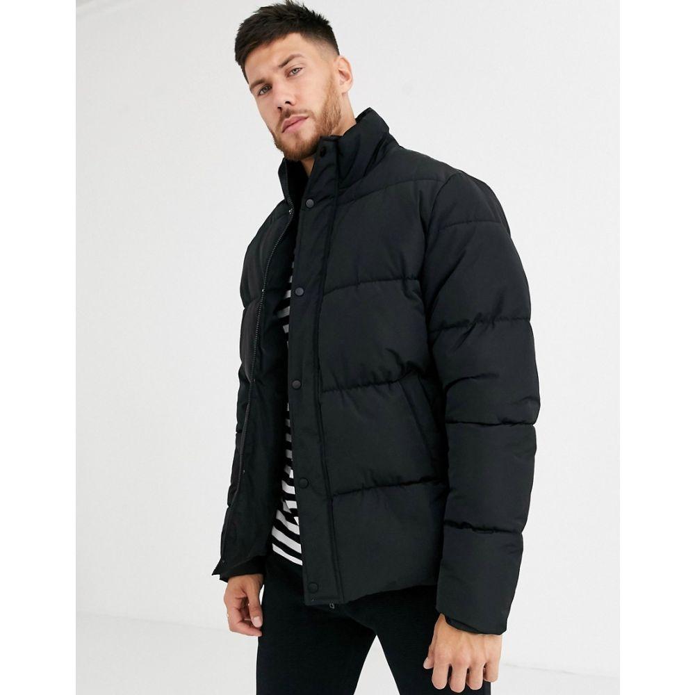 エイソス ASOS DESIGN メンズ ダウン・中綿ジャケット アウター【sustainable puffer jacket in black with funnel neck】Black