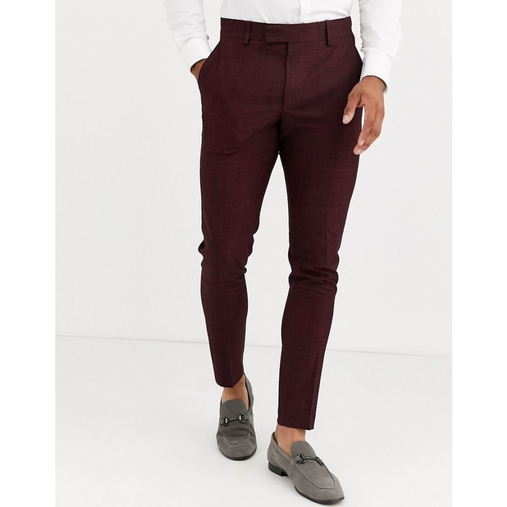 エイソス ASOS DESIGN メンズ スラックス ボトムス・パンツ【wedding super skinny suit trousers in wine crosshatch】Burgundy