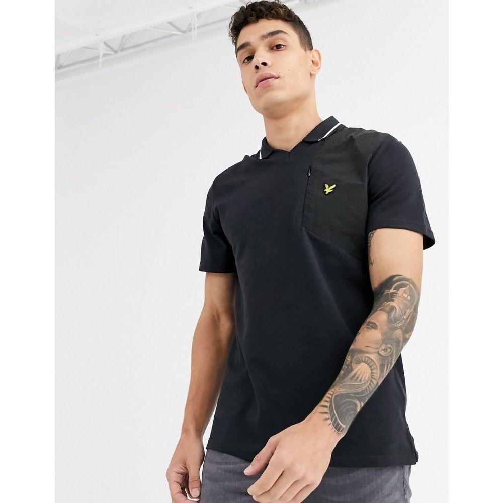 ライル アンド スコット Lyle & Scott メンズ ポロシャツ トップス【fabric mix football polo shirt】Black