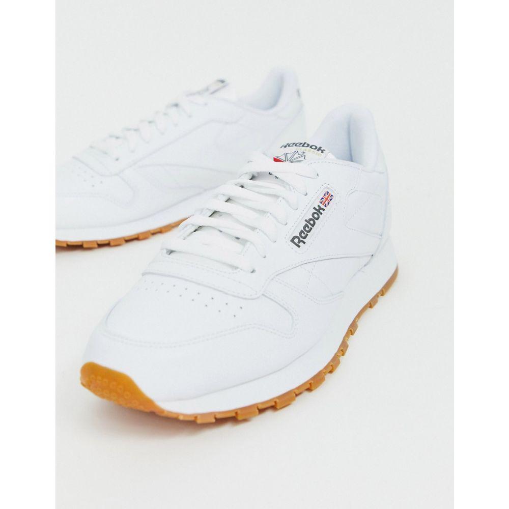 リーボック Reebok メンズ スニーカー シューズ・靴【classic leather trainers in white】White