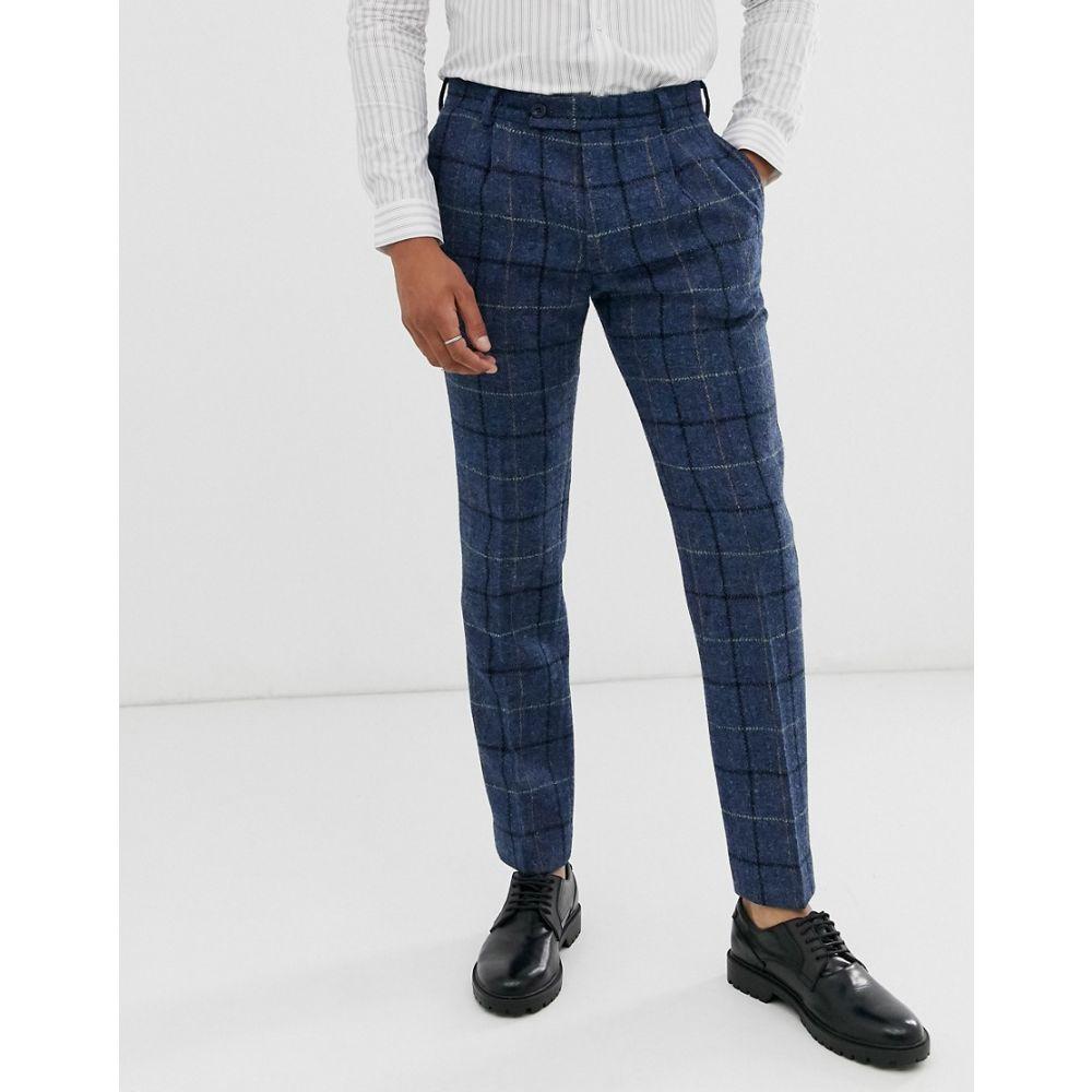 エイソス ASOS DESIGN メンズ スキニー・スリム ボトムス・パンツ【slim smart trousers in 100% wool harris tweed in blue check】Blue