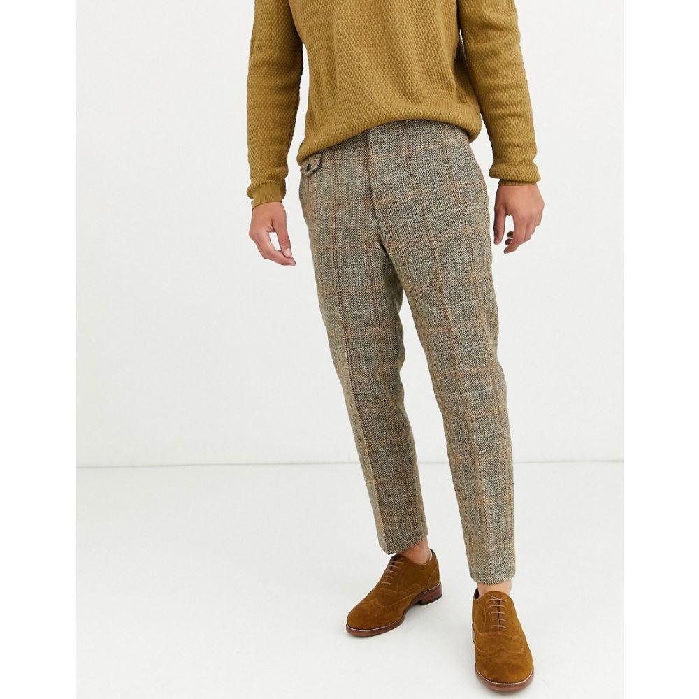 エイソス ASOS DESIGN メンズ スキニー・スリム ボトムス・パンツ【slim crop smart trousers in 100% wool harris tweed in brown twill check】Brown